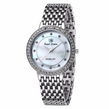 ~Royal Crown ~3650M 優雅圓型晶鑲鑽腕錶大型晶鑽銀
