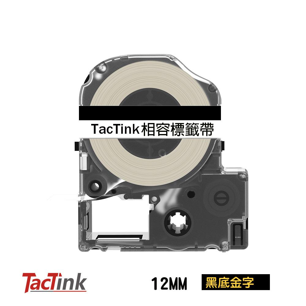 ~TacTink ~EPSON 標籤機色帶LC 4BKP 黑底金字寬度12mm