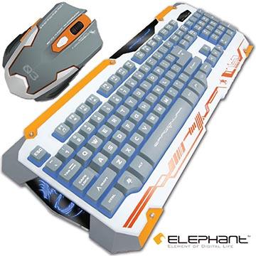 ELEPHANT 龍戰系列 背光鍵盤滑鼠組白色(KE001+ELEG11W)