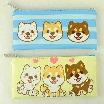CHAI SHIBAINU 小捲尾柴柴皮質扁筆袋鉛筆袋收納袋萬用袋兩款可選棕色藍色