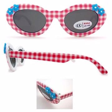 歐洲品牌Kiddus 嬰幼兒太陽眼鏡粉紅格紋小花