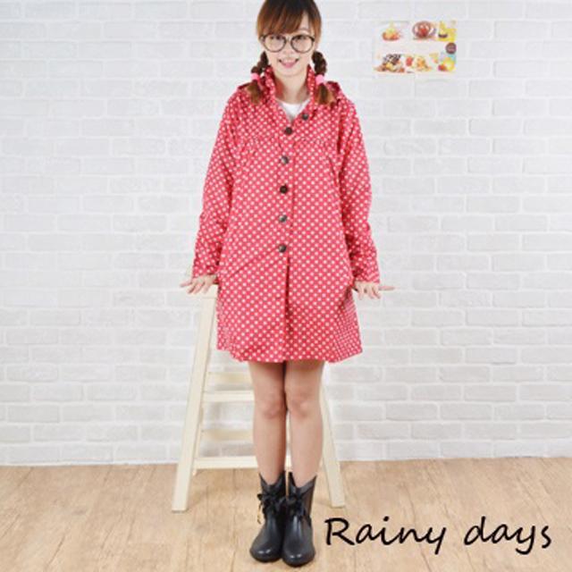 【Rainy days】韓風圓點控娃娃裝風雨衣/風衣/雨衣 (102紅點)