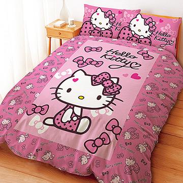 ~享夢城堡~HELLO KITTY 蝴蝶結甜心系列雙人四件式床包涼被組粉