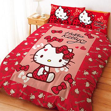 ~享夢城堡~HELLO KITTY 蝴蝶結甜心系列雙人四件式床包涼被組紅