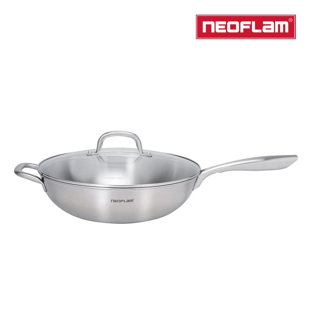 NEOFLAM 不銹鋼316炒鍋32cm(含強化玻璃蓋)