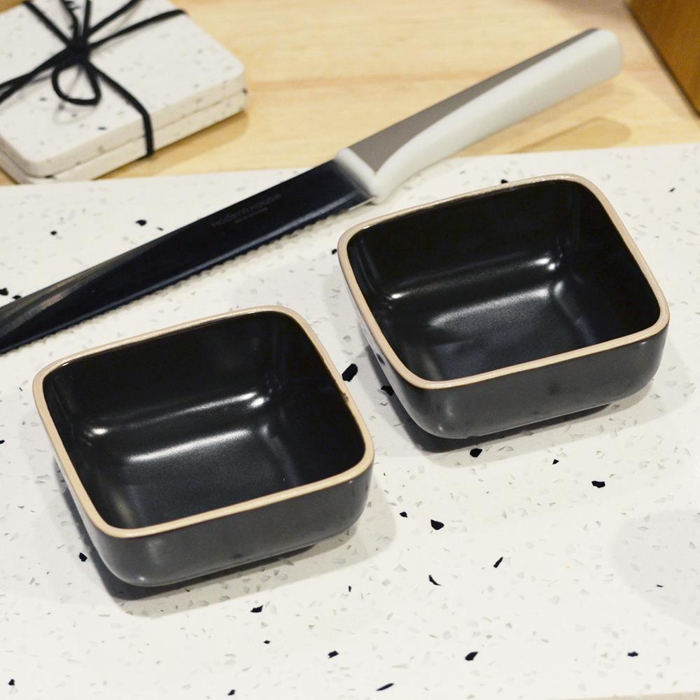 ~YU Living ~日式陶瓷方型餐盤二件組黑