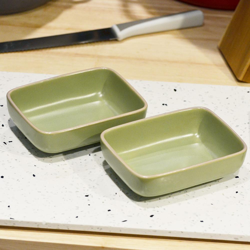 ~YU Living ~日式陶瓷長方餐盤二件組綠
