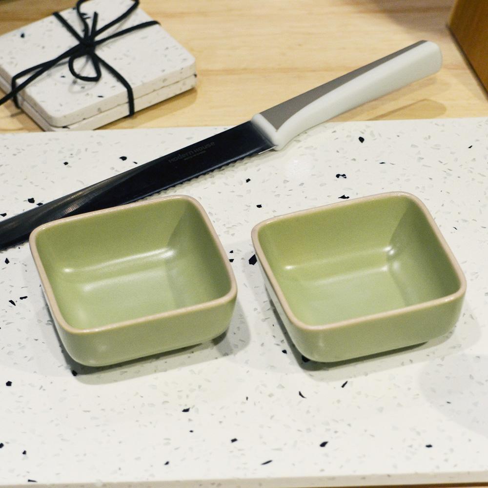 ~YU Living ~日式陶瓷方型餐盤二件組綠