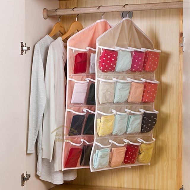 透明16 格衣櫃收納袋掛袋多格衣架掛式門後收納袋牆掛式襪子小物整理袋 出貨換季收納