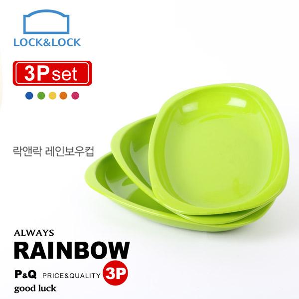 ~樂扣樂扣~P Q PP 彩虹疊疊樂橢圓餐盤3 入組綠C24