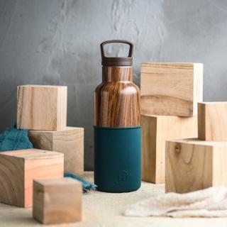 美國HYDY時尚保溫水瓶,CinCin系列, 孔雀綠-木紋瓶 480 ml