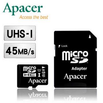 UHS I ★45MB s 傳輸Apacer 宇瞻16GB MicroSDHC UHS I Class10 記憶卡