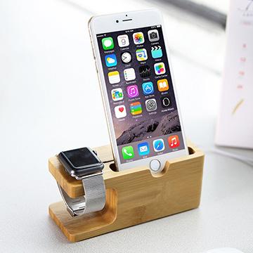 二合一竹木充電底座Apple Watch iPhone 充電架手機座for iPhone7 7plus 6S 6S Plus 6 6 Plus 5 生日