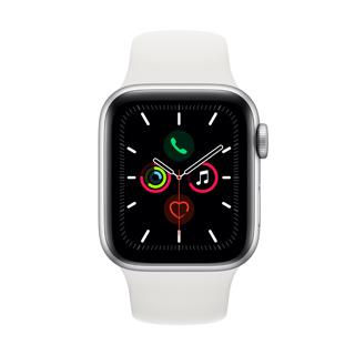 Apple Watch Series 5 44公釐銀色鋁金屬錶殼搭配白色運動型錶帶(GPS版)