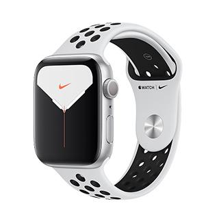 Apple Watch Nike+ Series 5 44公釐銀色鋁金屬錶殼搭Pure Platinum配黑色Nike運動型錶帶(GPS版)